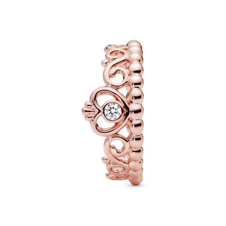 My Princess Tiara Ring, PANDORA Rose™ & Clear CZ, PANDORA Rose, Cubic Zirconia - PANDORA - #180880CZ