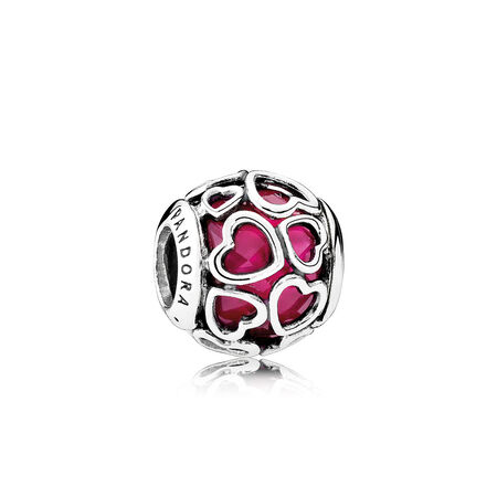 Cerise Encased in Love Charm, Cerise Crystal