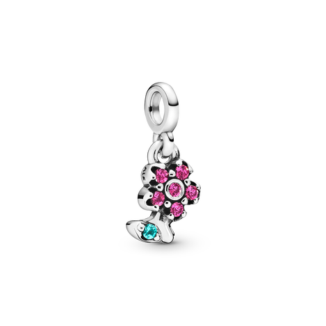 Flower sterling silver dangle charm with cerise crystal and aqua green crystal