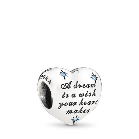 b1519ee7f Disney, Cinderella's Dream Charm, Fancy Light Blue CZ, Sterling silver,  Cubic Zirconia