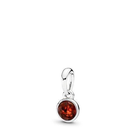 January Droplet Pendant, Garnet, Sterling silver, Red, Garnet - PANDORA - #390396GR