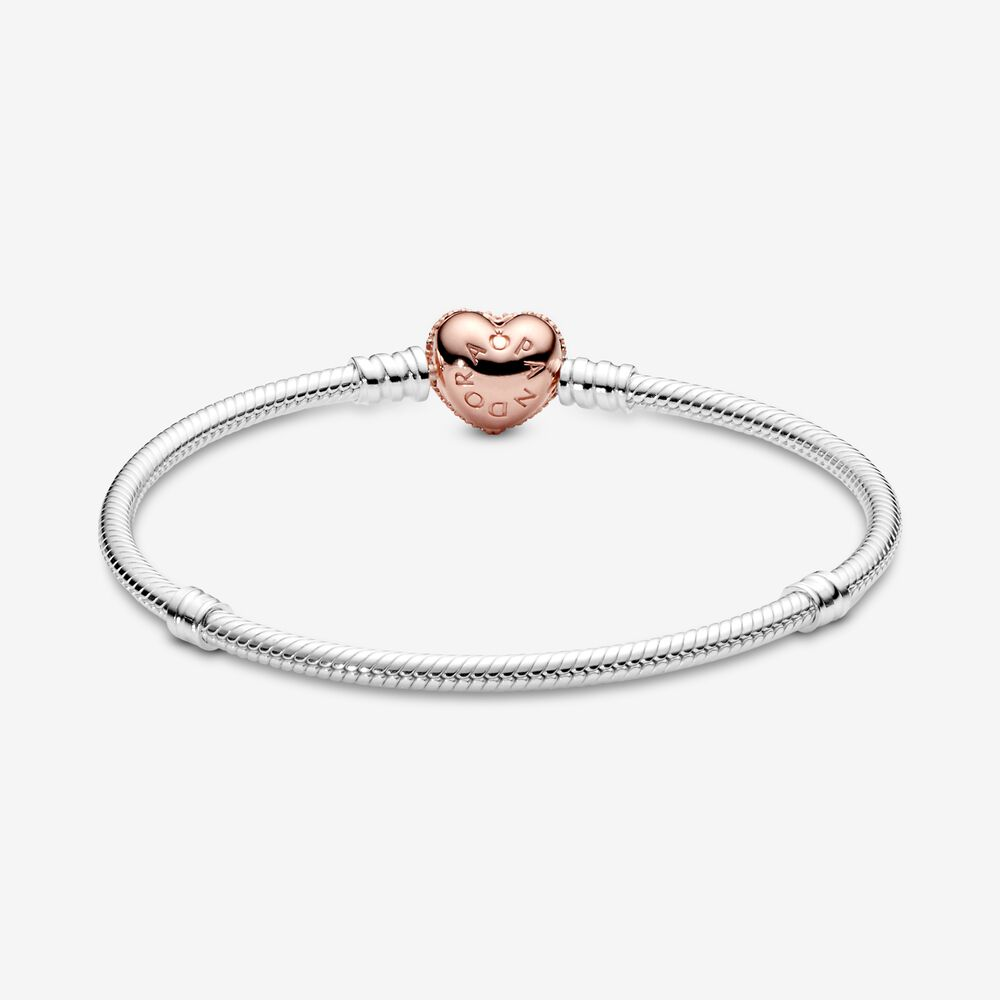 Sterling Silver Bracelet with Pandora Rose™ Pavé Heart Clasp   Two ...