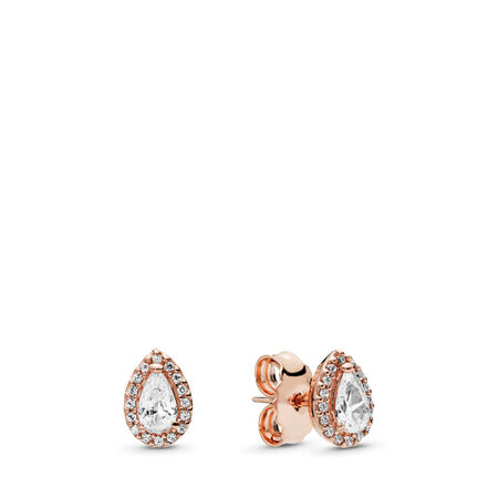 Radiant Teardrops Earrings, PANDORA Rose™ & Clear CZ, PANDORA Rose, Cubic Zirconia - PANDORA - #286252CZ