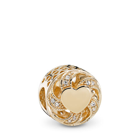 Ribbon Heart Charm, 14K Gold & Clear CZ
