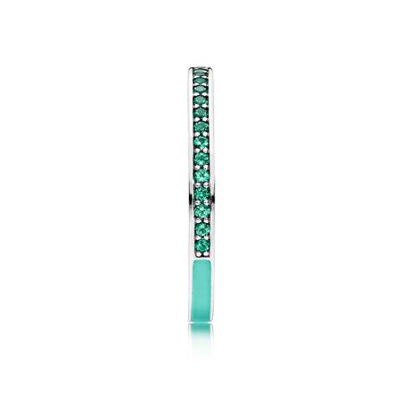 Radiant Hearts of PANDORA Ring, Bright Mint Enamel & Royal Green Crystals