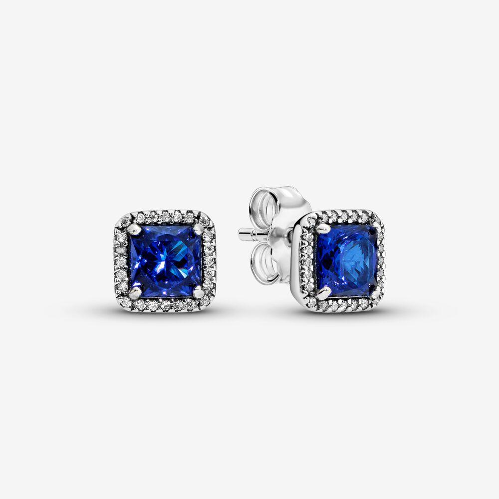 Blue Square Sparkle Halo Stud Earrings