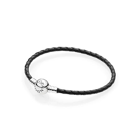 Black Braided Leather Charm Bracelet