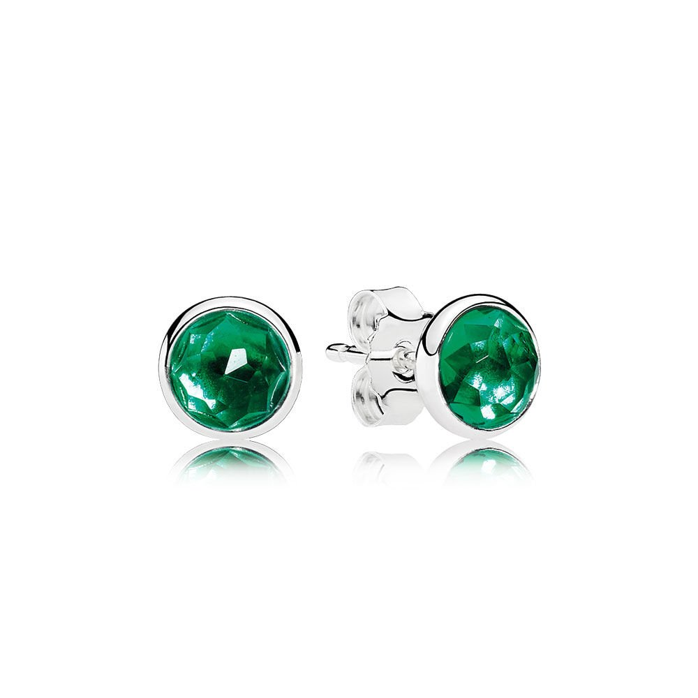 stud amazon cubic green pair zirconia cut jewelry studs com mm carats princess sterling emerald silver earrings square color dp sabrina