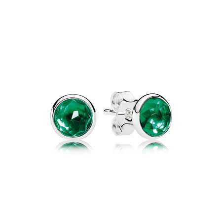 May Droplets Stud Earrings, Royal-Green Crystal
