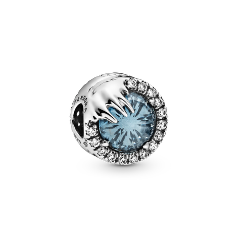 Disney Frozen sterling silver charm with winter sky blue crystal and clear cubic zirconia