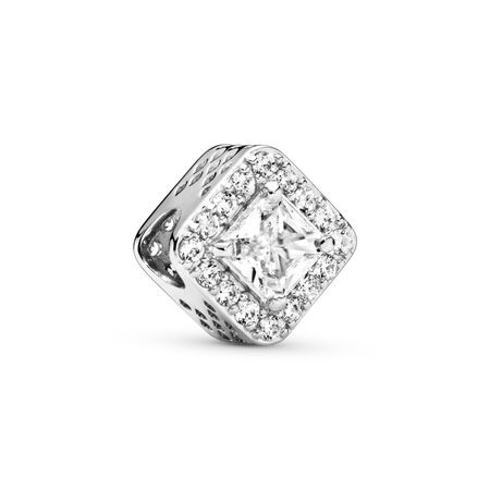 a07a4d00d Geometric Radiance Charm, Clear CZ Sterling silver, Cubic Zirconia