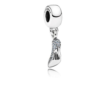 Disney, Cinderella Sparkling Slipper Dangle Charm, Fancy Light Blue CZ
