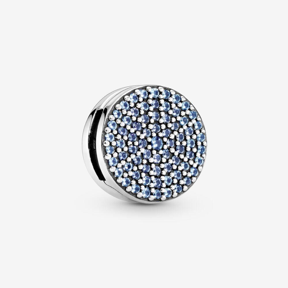 Round Blue Pavé Clip Charm