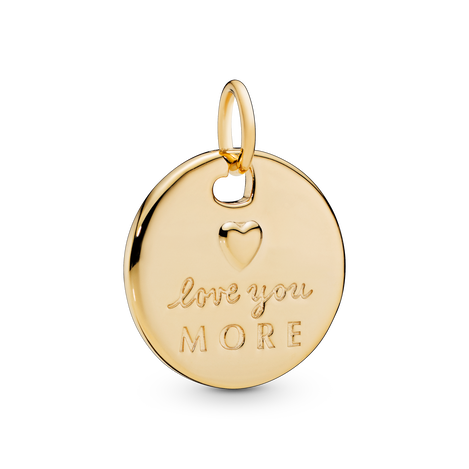 Heart & Love You More Round Pendant
