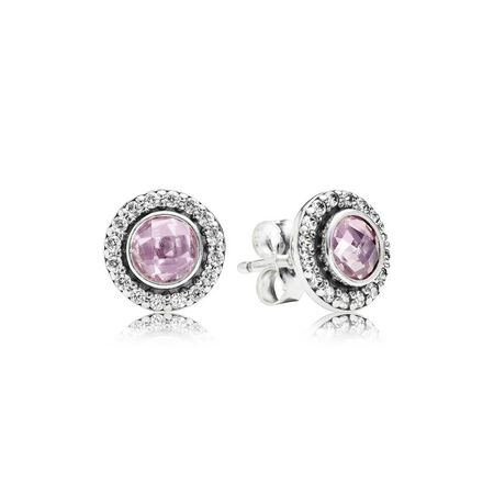 Brilliant Legacy Stud Earrings, Pink & Clear CZ