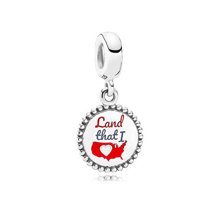 Land That I Love Dangle Charm, Mixed Enamel