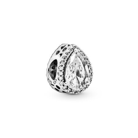 Radiant Teardrop Charm, Clear CZ