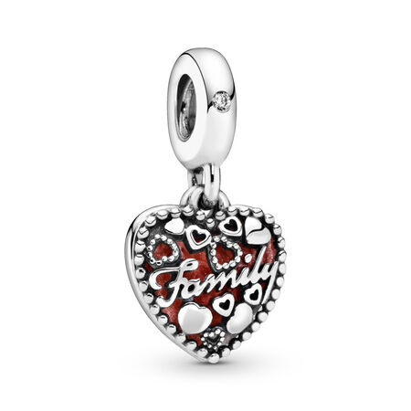 Love Makes A Family Dangle Charm, Pink Enamel & Clear CZ