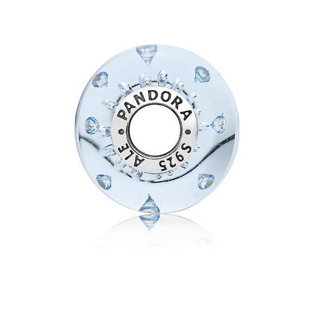 Ice Drops Murano Glass Charm, Blue CZ