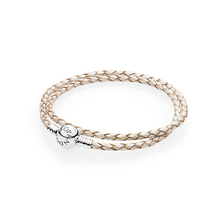 5a03d8280 Champagne-Colored Braided Double-Leather Charm Bracelet Sterling silver,  Leather, White