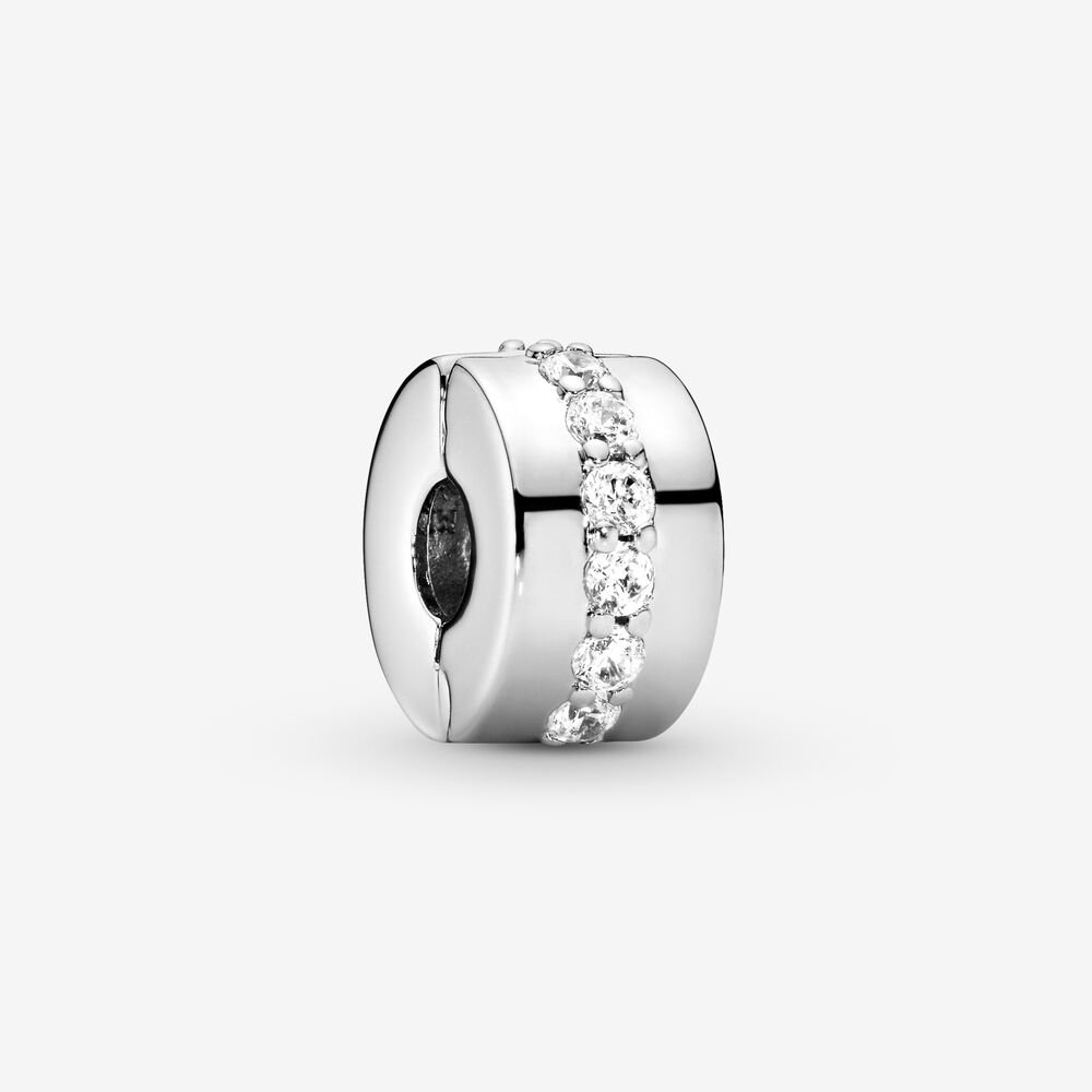 Pandora Moments clip charms help you to evenly space out your charms, bringing both balance and beauty to bracelets. This one is made from sterling silver, accented with a line of cubic zirconia that runs around its middle. Add a single piece to a styling