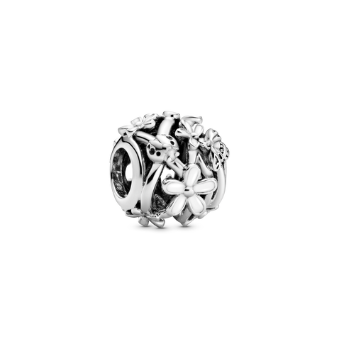Openwork White Daisy Flower Charm