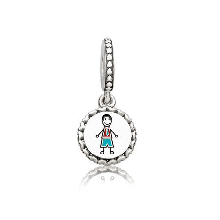Dad Stick Figure Dangle Charm, Mixed Enamel