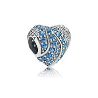 Aqua Heart Charm, Aqua & London Blue Crystals & Clear CZ