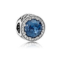 Radiant Hearts Charm, Moonlight Blue Crystal & Clear CZ