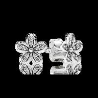 Dazzling Daisy Stud Earrings, Clear CZ