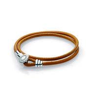 Golden Tan Double Leather Bracelet, Clear CZ