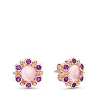Boucles d'oreilles Radiance héraldique, PANDORA Rose et cristaux roses et mauves
