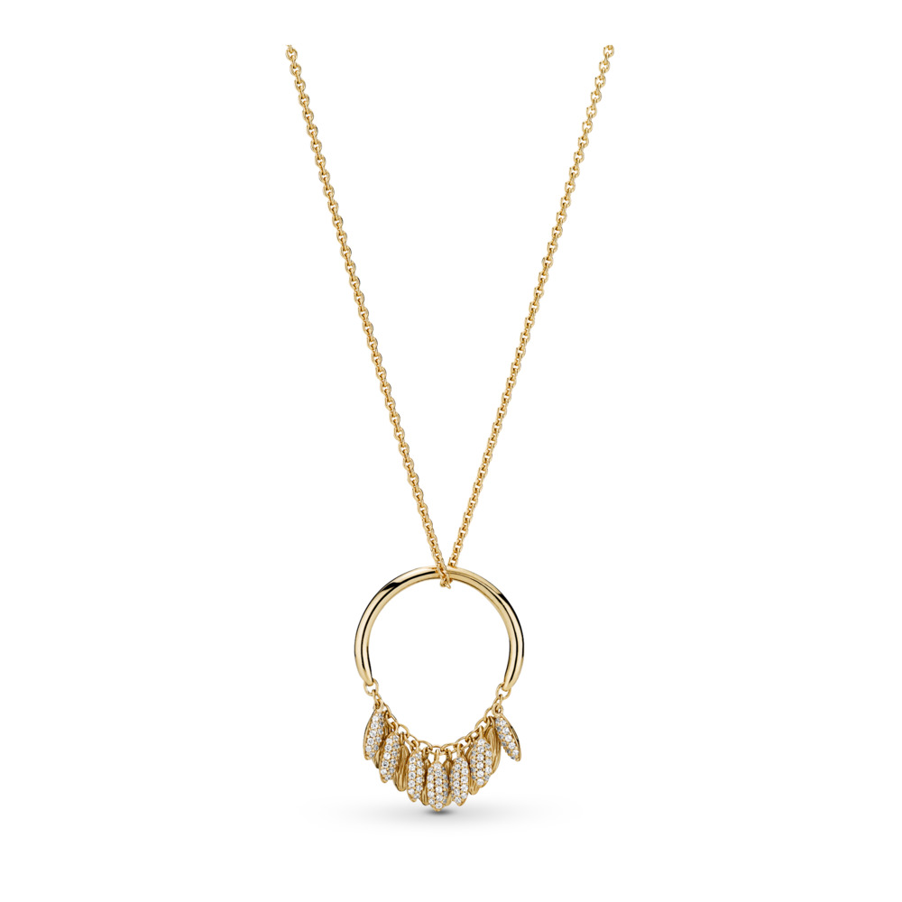 Limited Edition Circle of Seeds Necklace, PANDORA Shine™ & Clear CZ, 18ct Gold Plated, Cubic Zirconia - PANDORA - #367683CZ