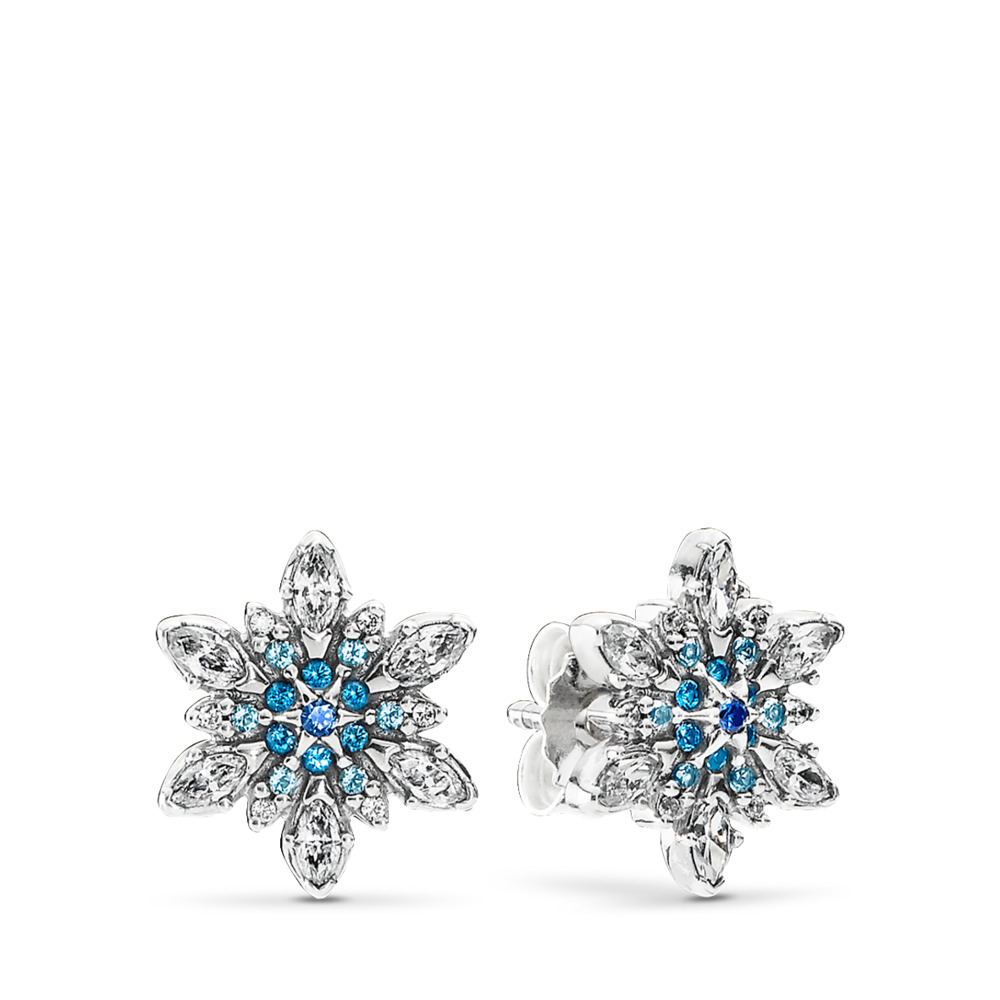 Crystalized Snowflake Stud Earrings, Blue Crystals & Clear CZ, Sterling silver, Blue, Mixed stones - PANDORA - #290590NBLMX