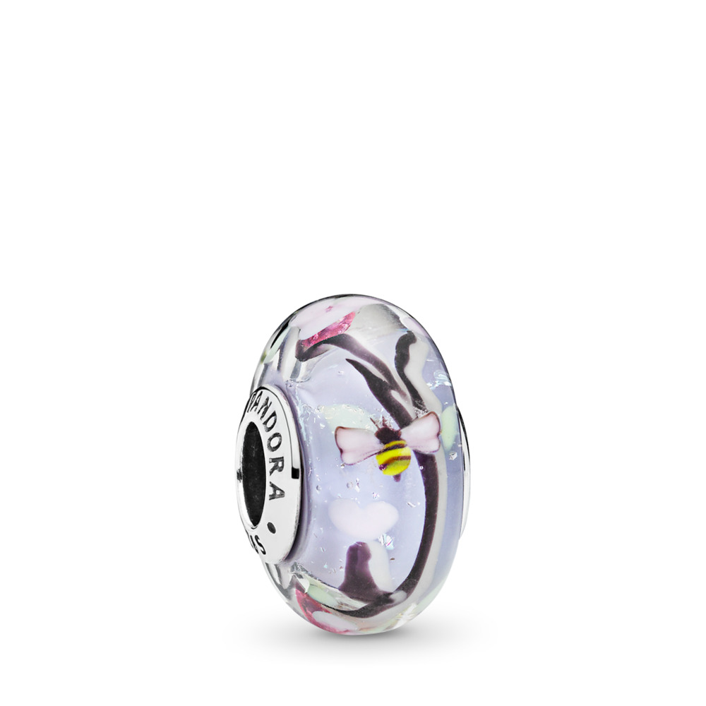 Enchanted Garden Charm, Murano Glass, Sterling silver, Glass, Black - PANDORA - #797014