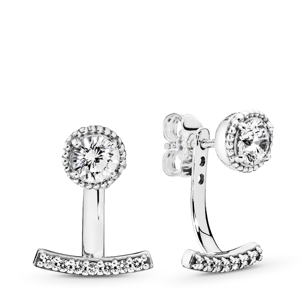 Abstract Elegance Drop Earrings, Clear CZ, Sterling silver, Cubic Zirconia - PANDORA - #290743CZ