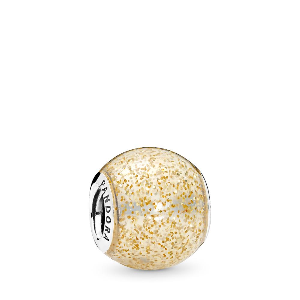Glitter Ball Charm, Golden Glitter Enamel, Sterling silver, Enamel, Yellow - PANDORA - #796327EN146
