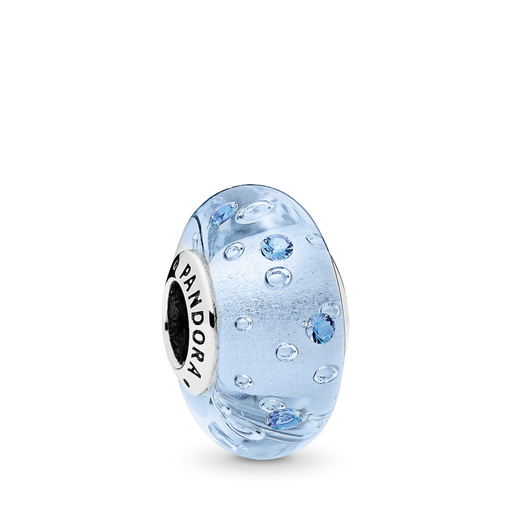 Ice Drops Murano Glass Charm, Blue CZ, Sterling silver, Glass, Blue, Cubic Zirconia - PANDORA - #796365CZB