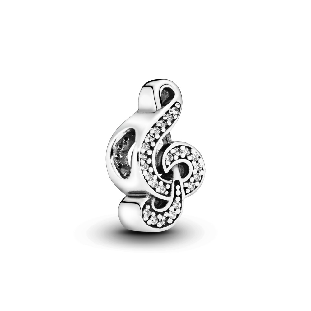 Sweet Music Treble Clef, Clear CZ, Sterling silver, Cubic Zirconia - PANDORA - #791381CZ