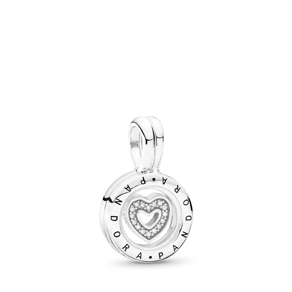 PANDORA Floating Locket, Sapphire Crystal Glass & Clear CZ, Sterling silver, Glass, Cubic Zirconia - PANDORA - #792144CZ