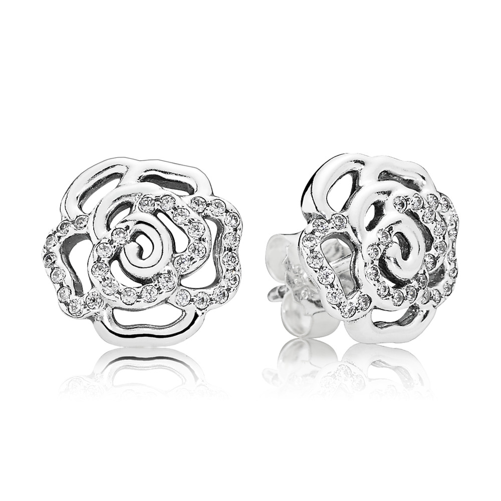 Shimmering Rose Stud Earrings, Clear CZ, Sterling silver, Cubic Zirconia - PANDORA - #290575CZ