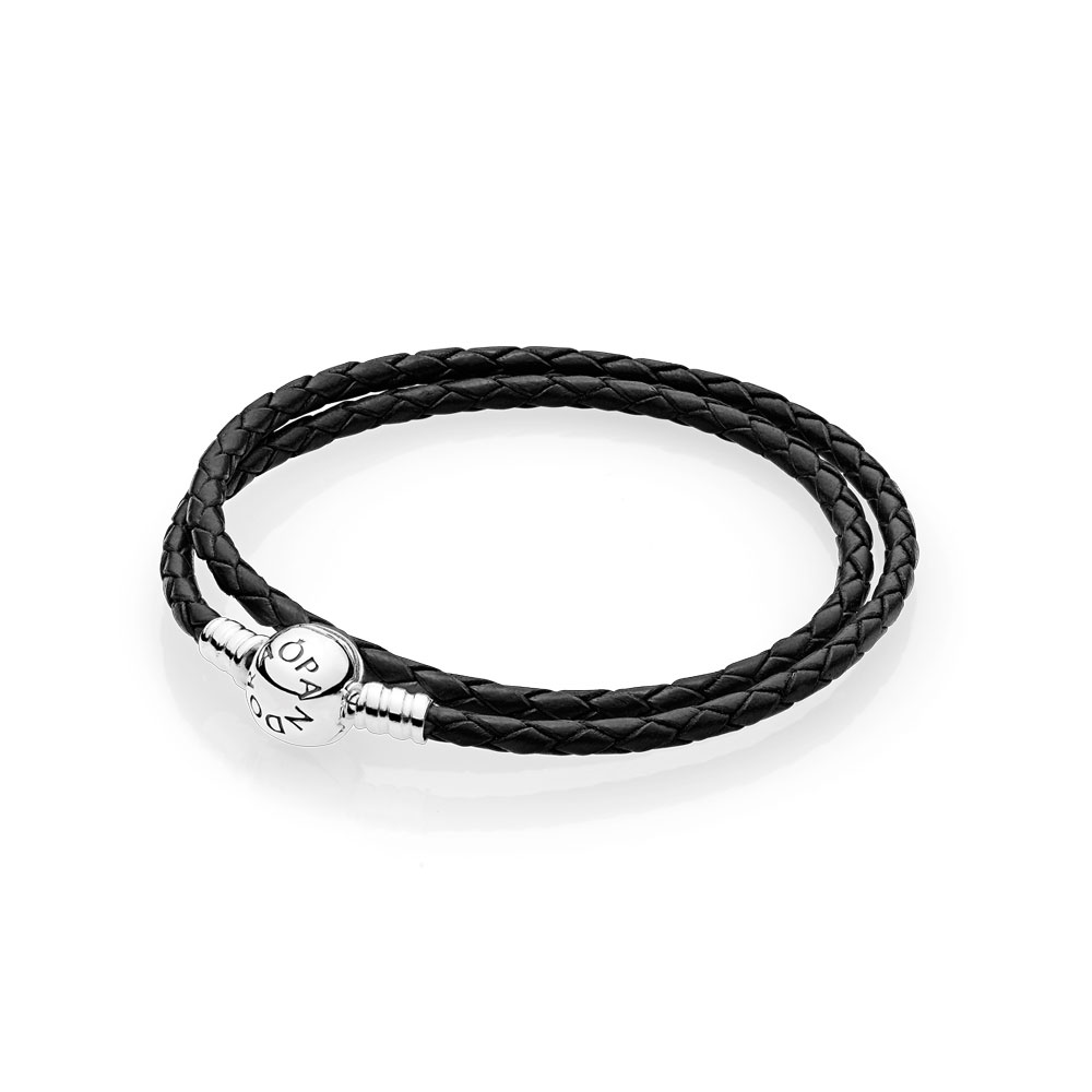 Black Braided Double Leather Charm Bracelet