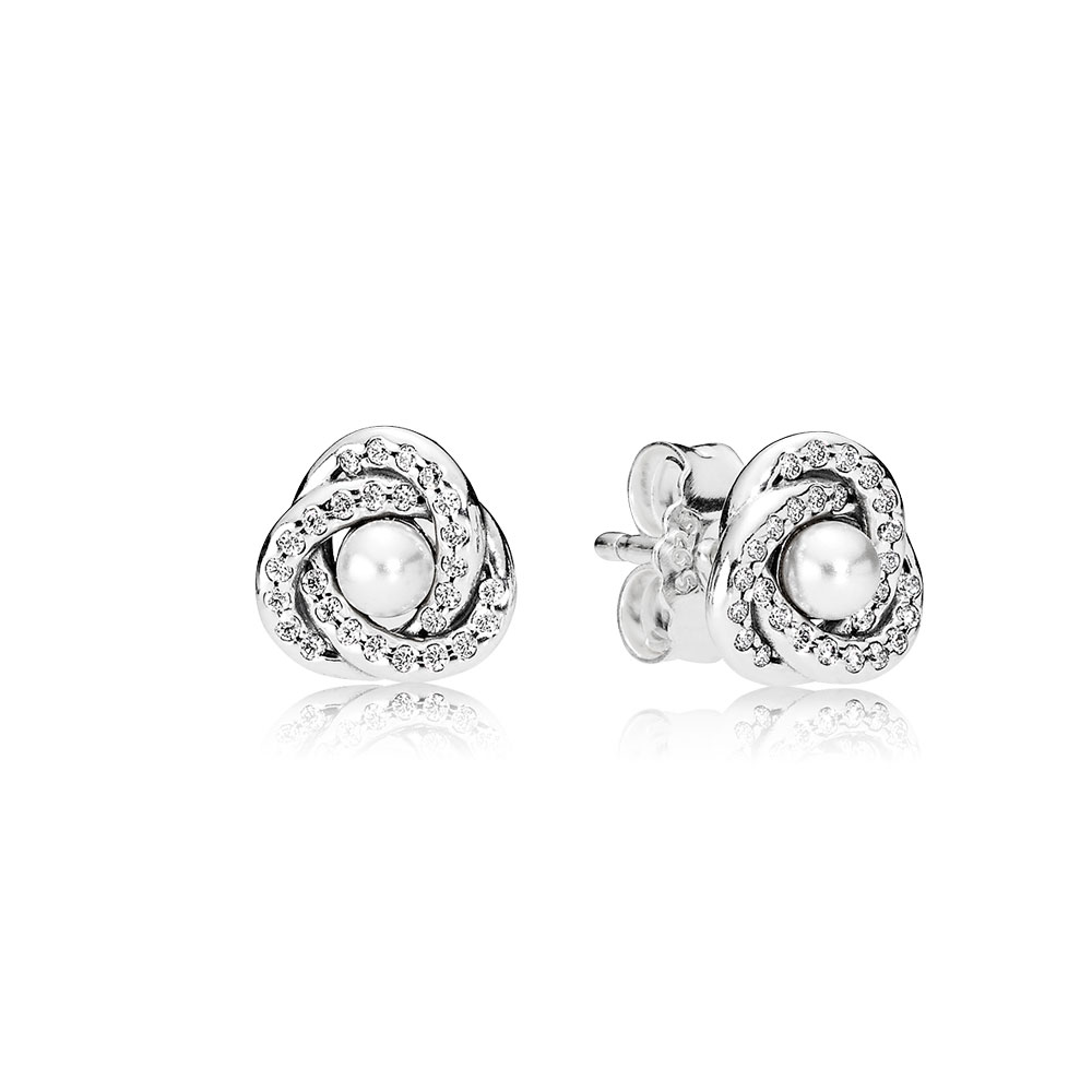 Luminous Love Knots Stud Earrings, White Crystal Pearl & Clear CZ