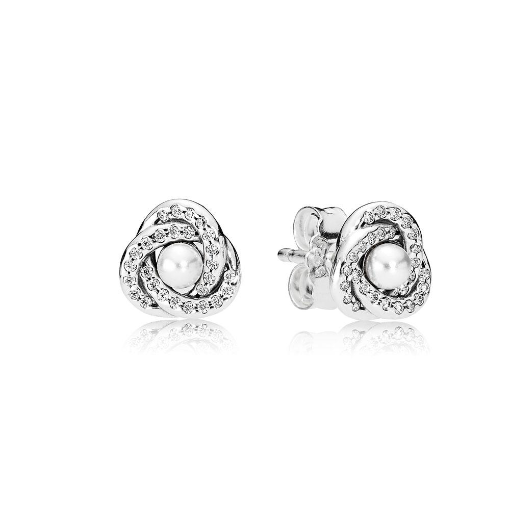 Luminous Love Knots Stud Earrings White Crystal Pearl Clear Cz