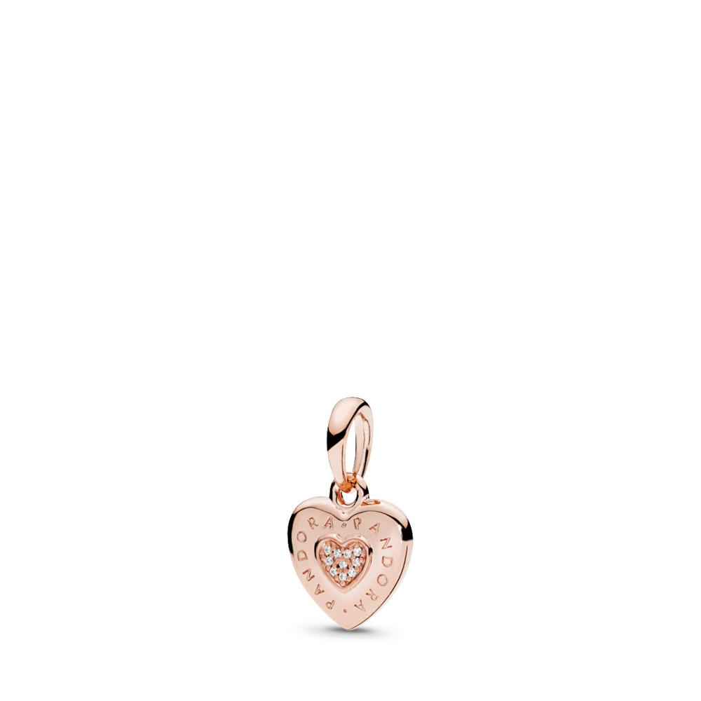 PANDORA Signature Heart Pendant, PANDORA Rose™ & Clear CZ, PANDORA Rose, Cubic Zirconia - PANDORA - #387376CZ