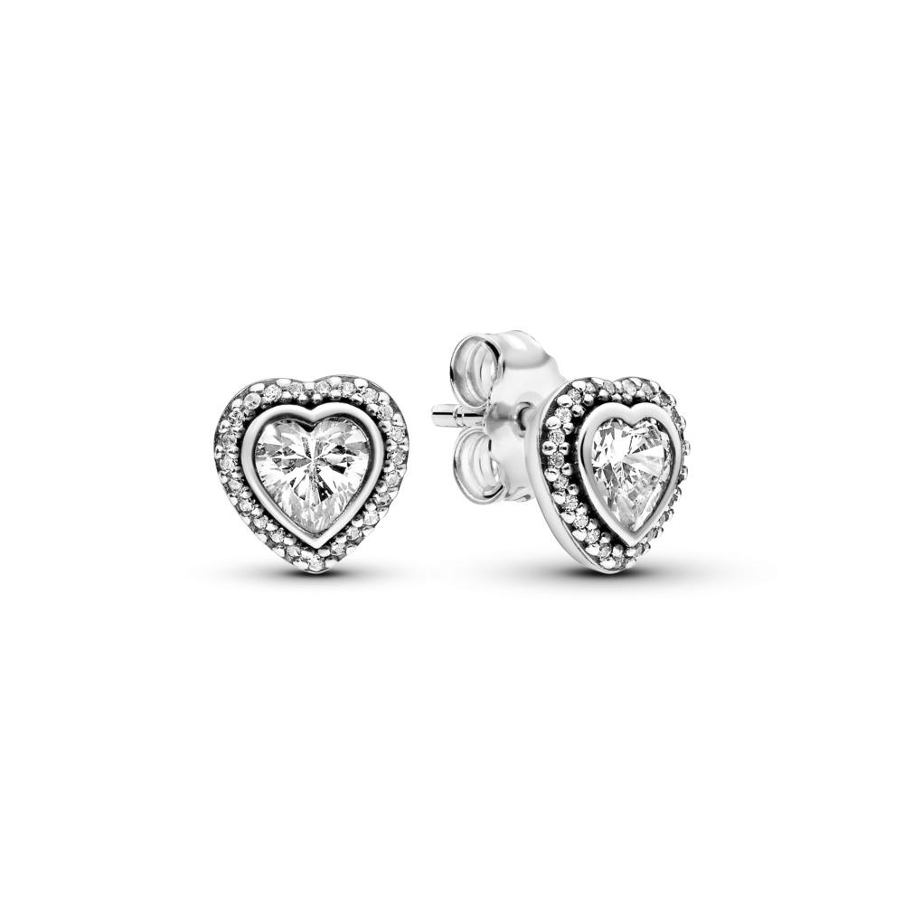 Sparkling Love Stud Earrings, Clear CZ, Sterling silver, Cubic Zirconia - PANDORA - #290568CZ