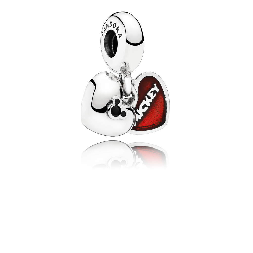 Disney, Mickey & Minnie Dangle Charm, Red Enamel, Sterling silver, Enamel, Black, Crystal - PANDORA - #791441NCK