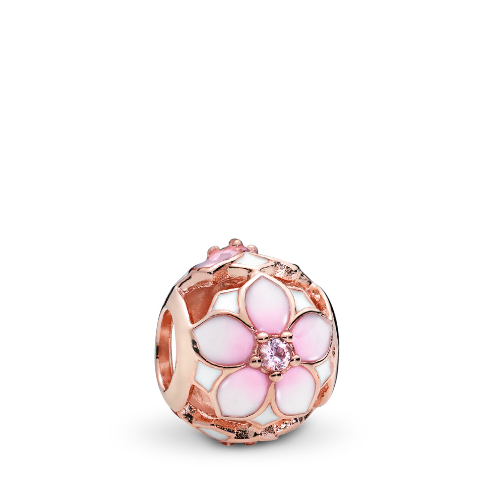 Magnolia Bloom Charm, PANDORA Rose™, Blush Pink Crystal and Mixed Enamel, PANDORA Rose, Enamel, Pink, Crystal - PANDORA - #782087NBP