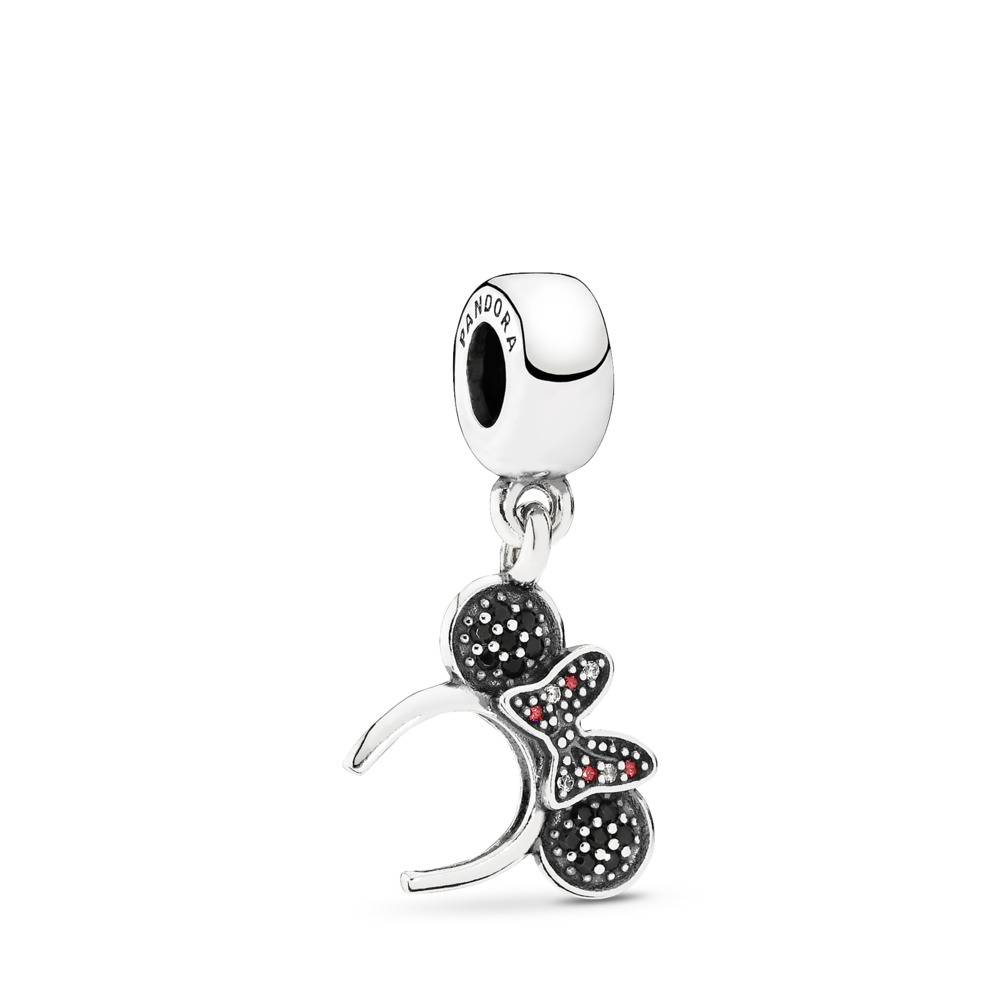 2a43407d6 Disney, Minnie Headband Dangle Charm, Black & Red CZ, Sterling silver, Mixed