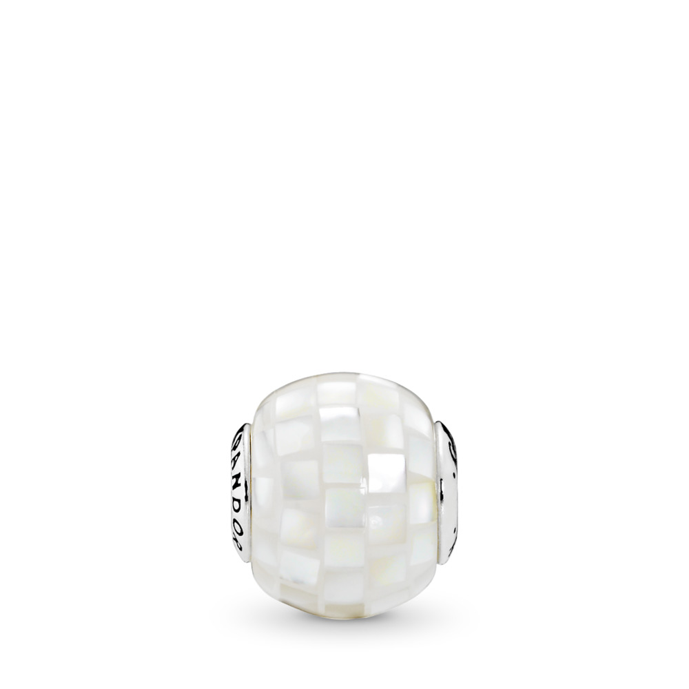 GENEROSITY Charm, White Mother-of-Pearl Mosaic, Sterling silver, Silicone, White, Mother of pearl - PANDORA - #796079MMW